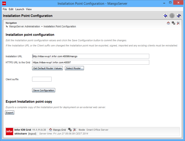 Installation Point Configuration