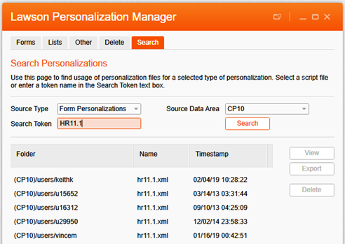 LawsonPersonalizationManager